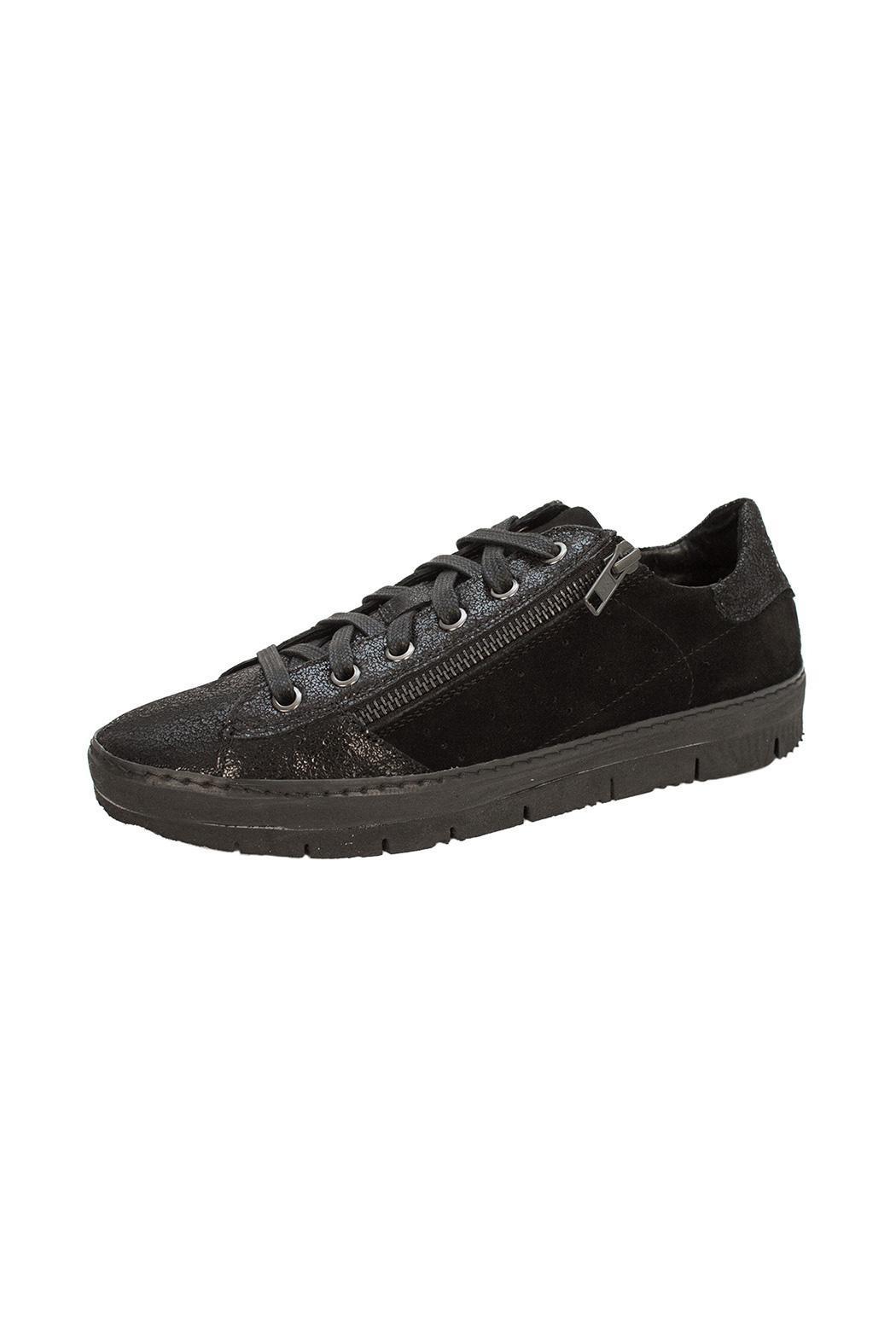 Khrio Black Double Zip Sneaker - Front Cropped Image