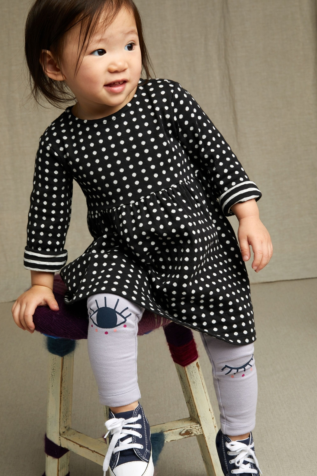 Tea Collection Khumbu Double Knit Baby Dress - Front Full Image