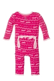 Kickee Pants Coverall Ruffle Pricklypear - Front full body