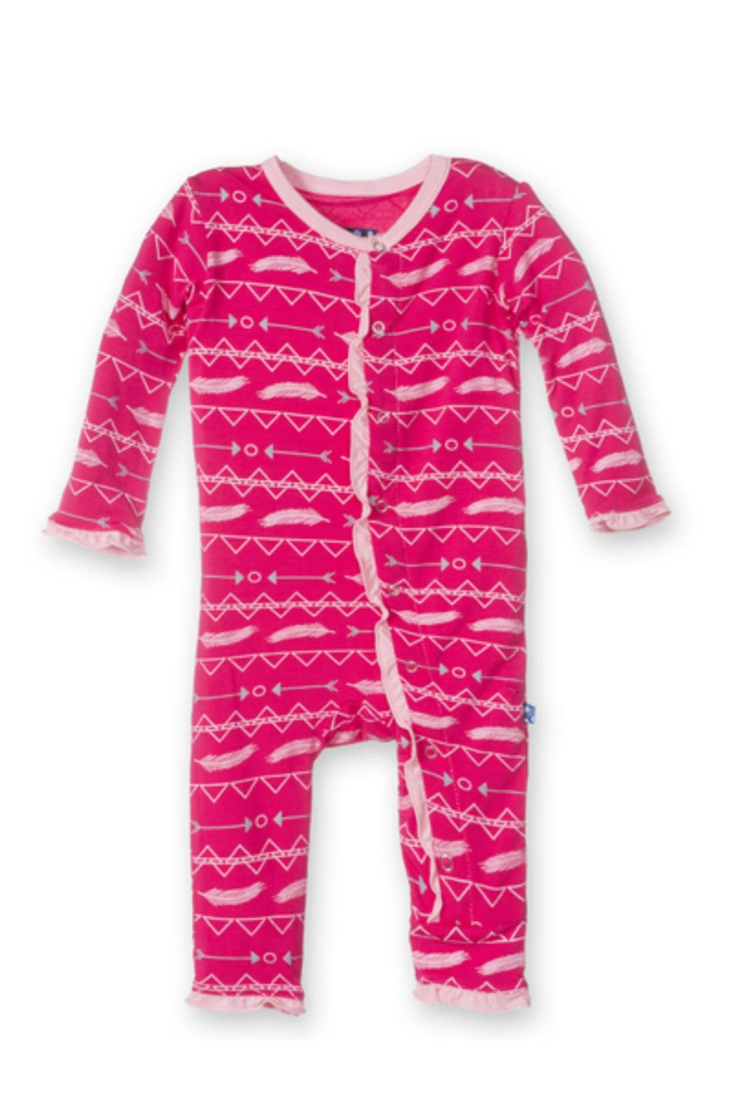 Kickee Pants Coverall Ruffle Pricklypear - Main Image