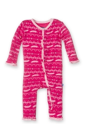 Kickee Pants Coverall Ruffle Pricklypear - Front cropped