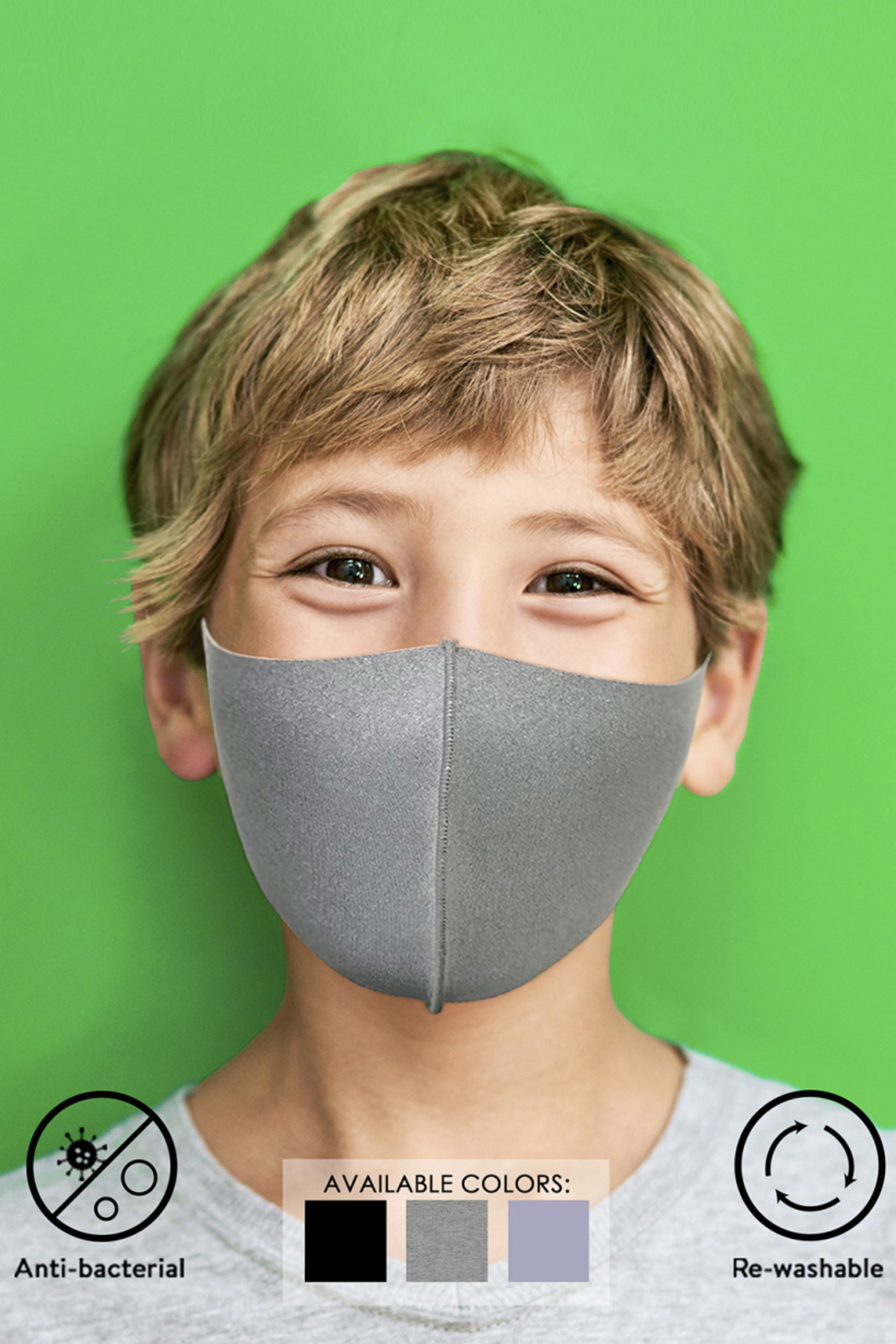 Gilli Kids Anti-bacterial Solid Mask - Front Full Image