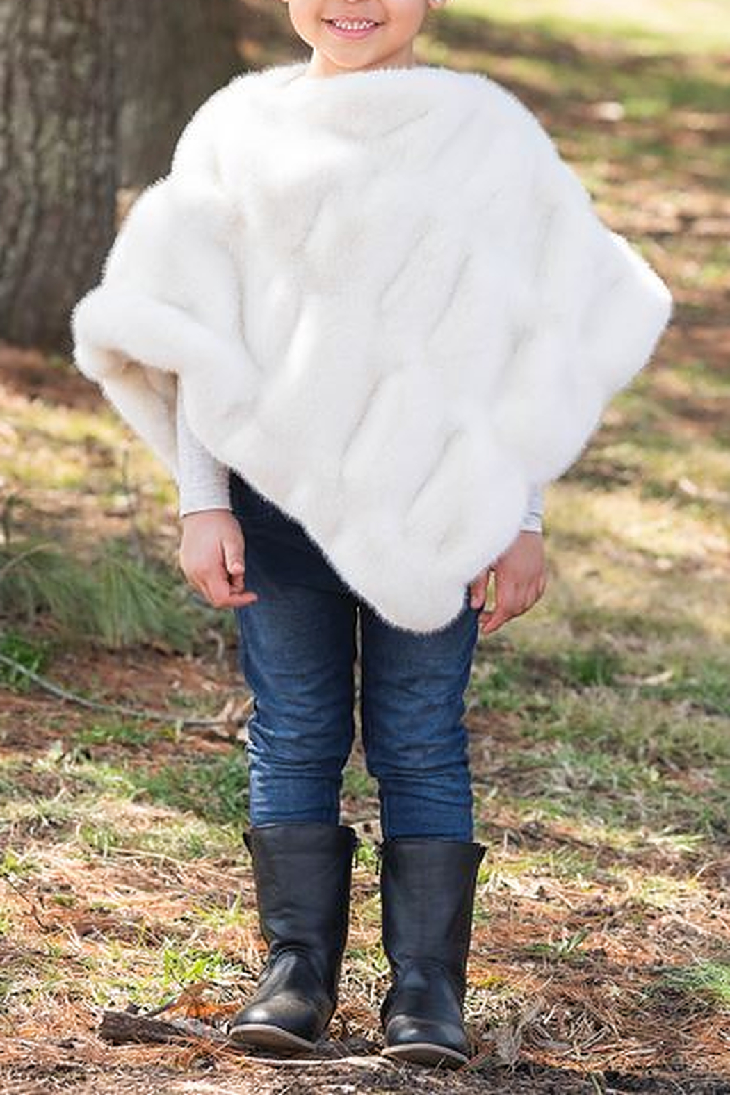 Fabulous Furs Kids Couture Faux Fur Poncho - Side Cropped Image