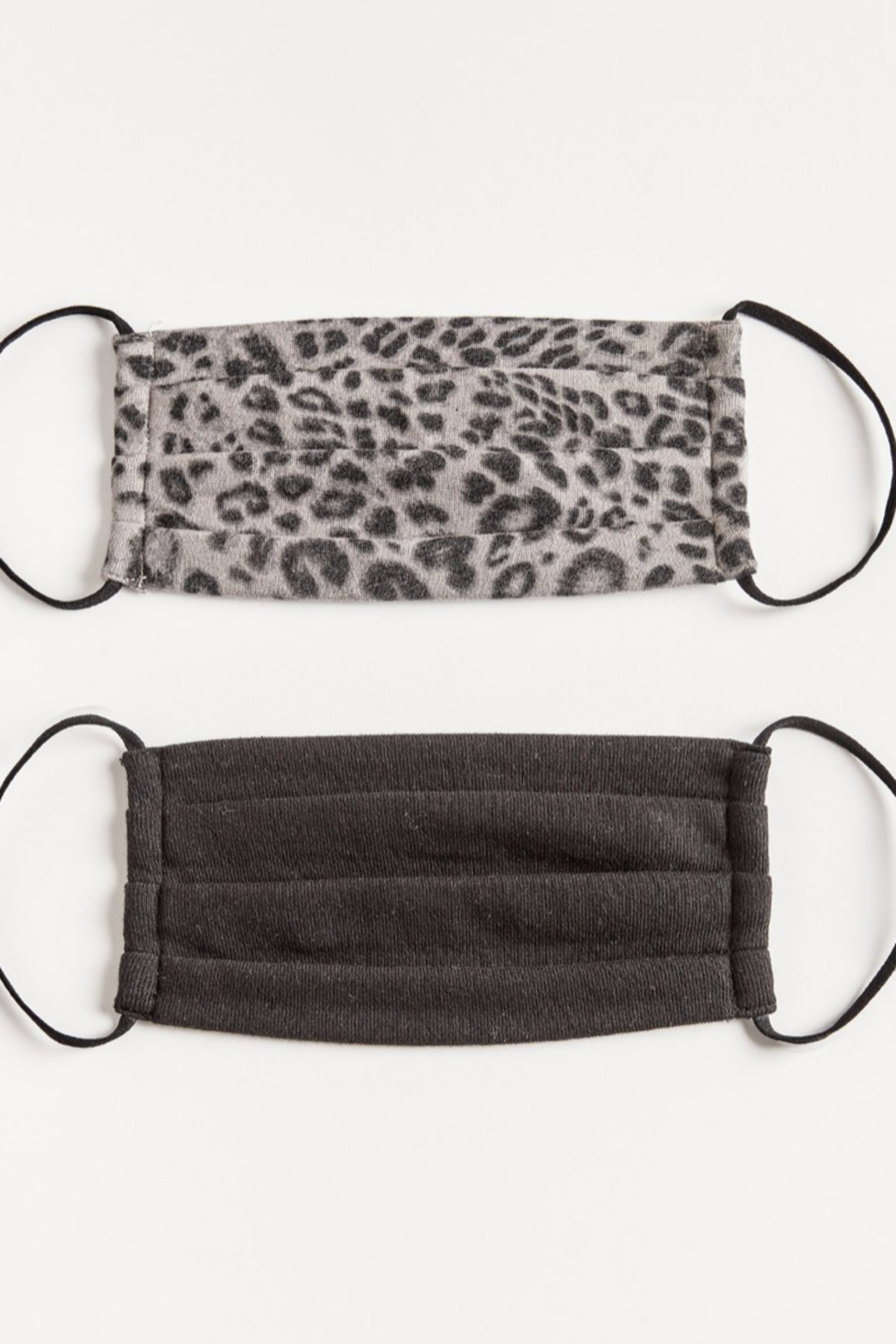 Allie & Chica Kids Grey Leopard & Black Facemasks (2 pack) - Main Image