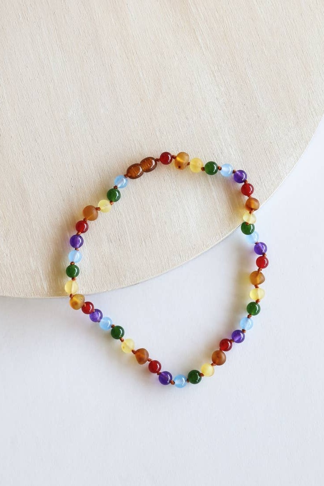 Canyon Leaf Kids: Raw Amber + Gemstone Rainbow Necklacase - Front Cropped Image
