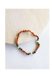 Canyon Leaf Kids: Raw Cognac Amber || Lava + Jade + Agate || Necklace - Product Mini Image