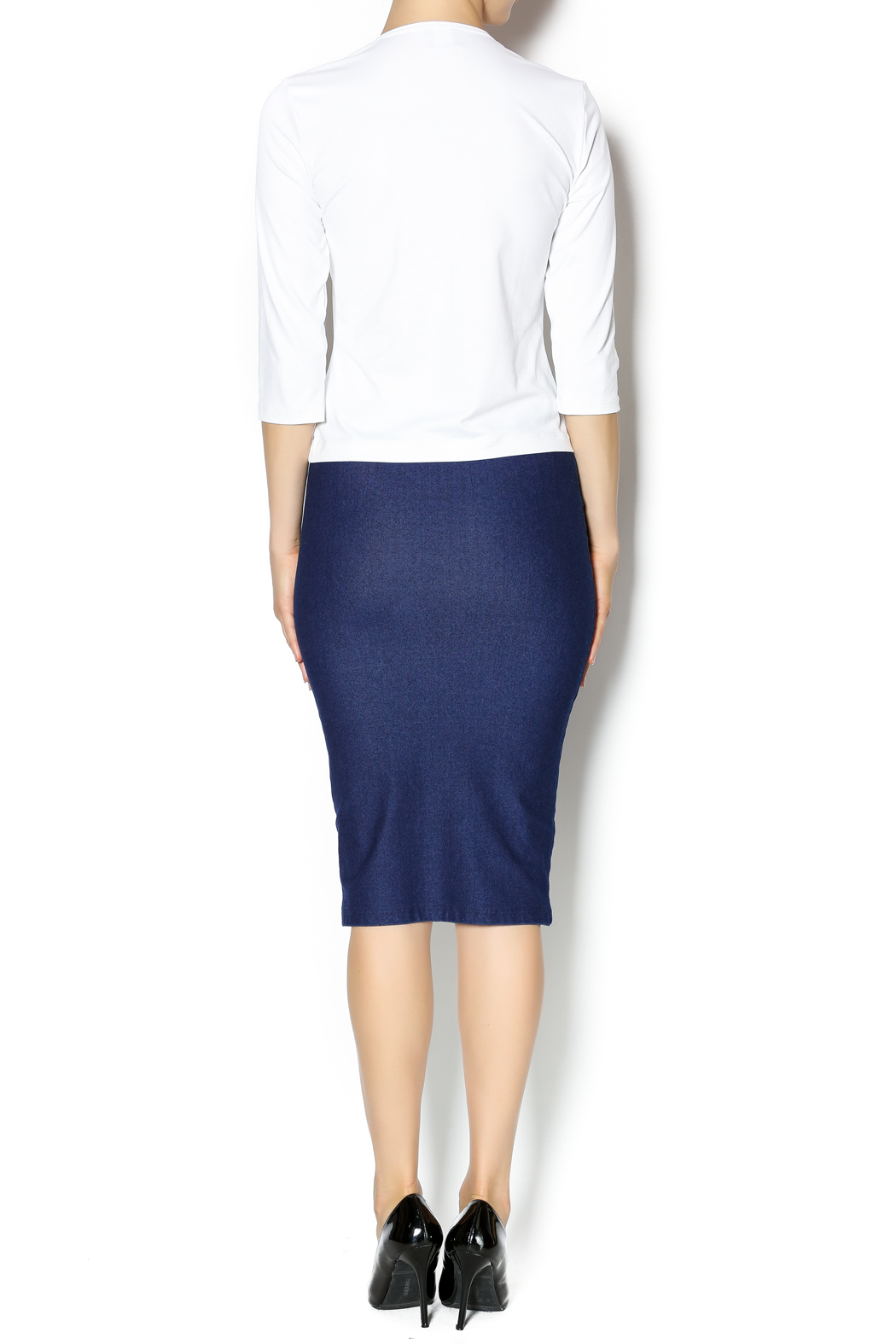 KIKI RIKI Faux Denim Pencil Skirt - Side Cropped Image