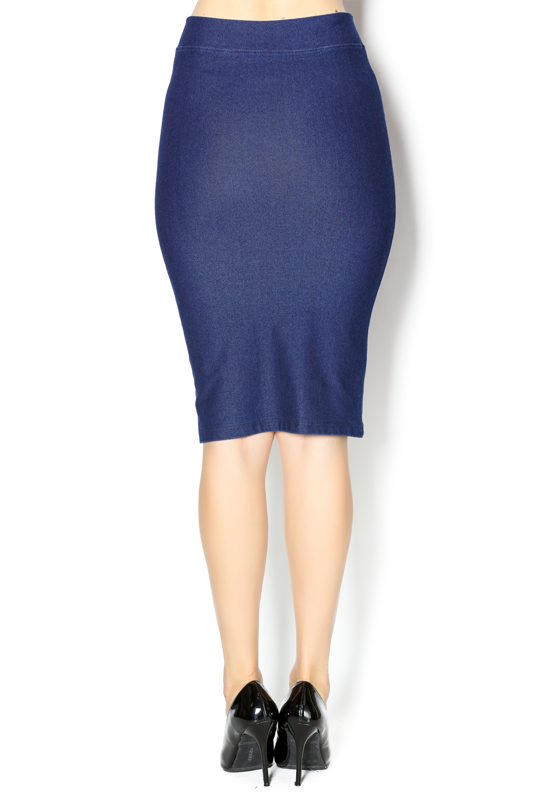 KIKI RIKI Faux Denim Pencil Skirt - Back Cropped Image