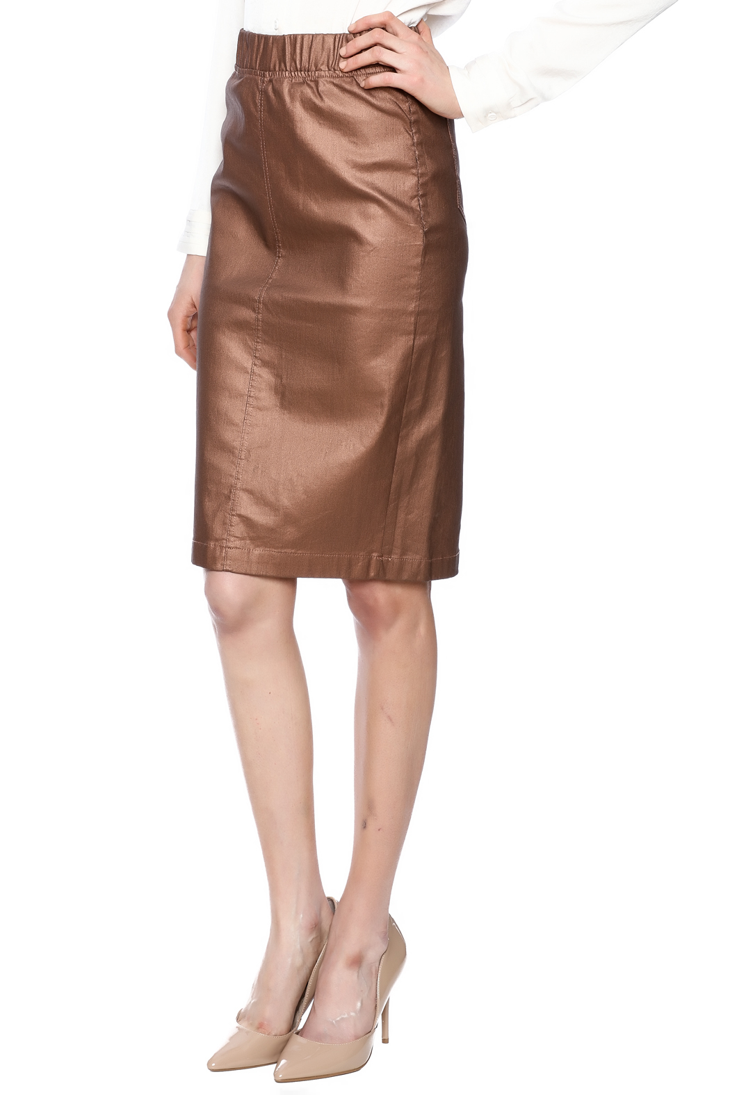 Kikiriki Metallic Jean Pencil Skirt - Main Image