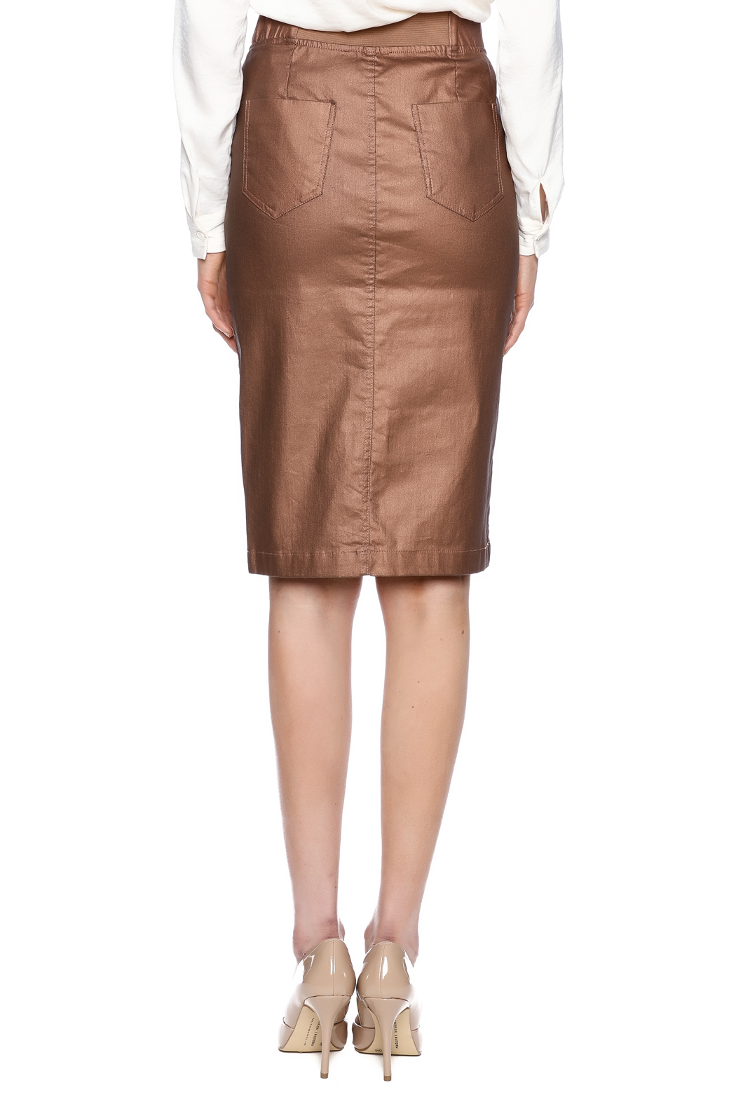 Kikiriki Metallic Jean Pencil Skirt - Back Cropped Image