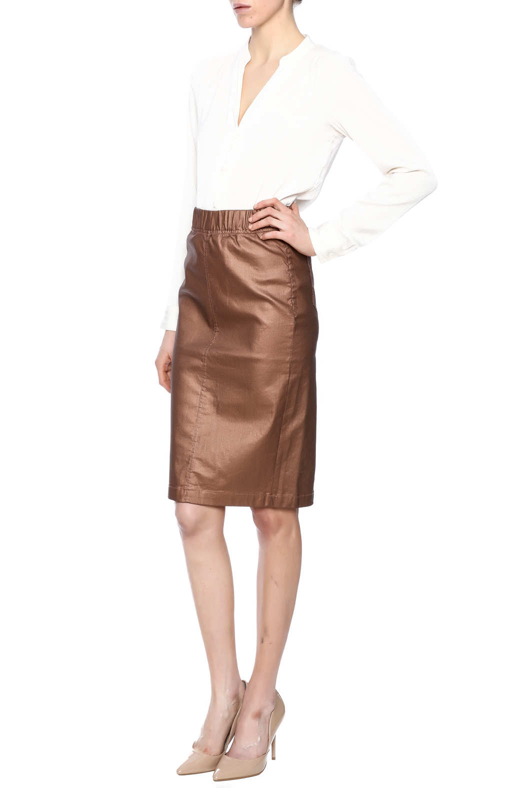 Kikiriki Metallic Jean Pencil Skirt - Front Full Image