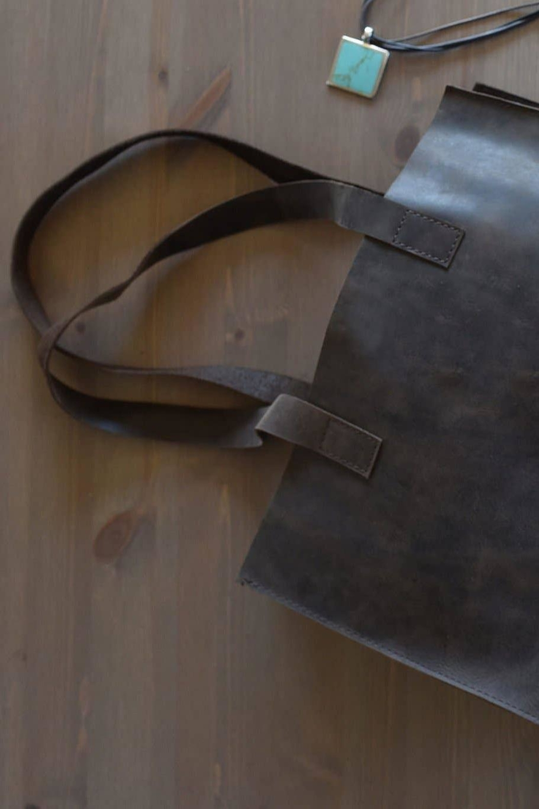 Kiko Leather Brown Leather Tote - Front Full Image