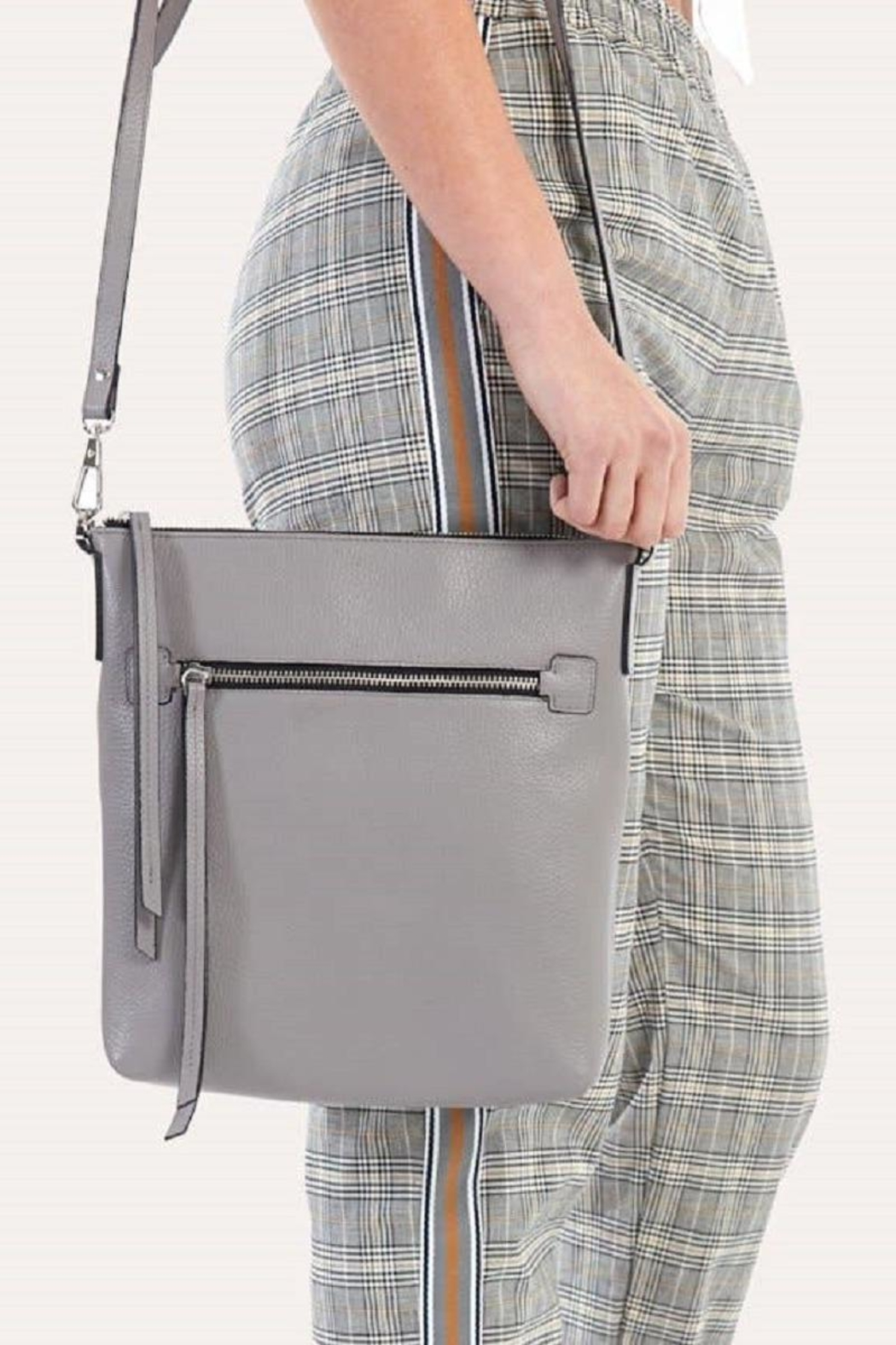 Kiko Leather Grey Leather Crossbody - Main Image
