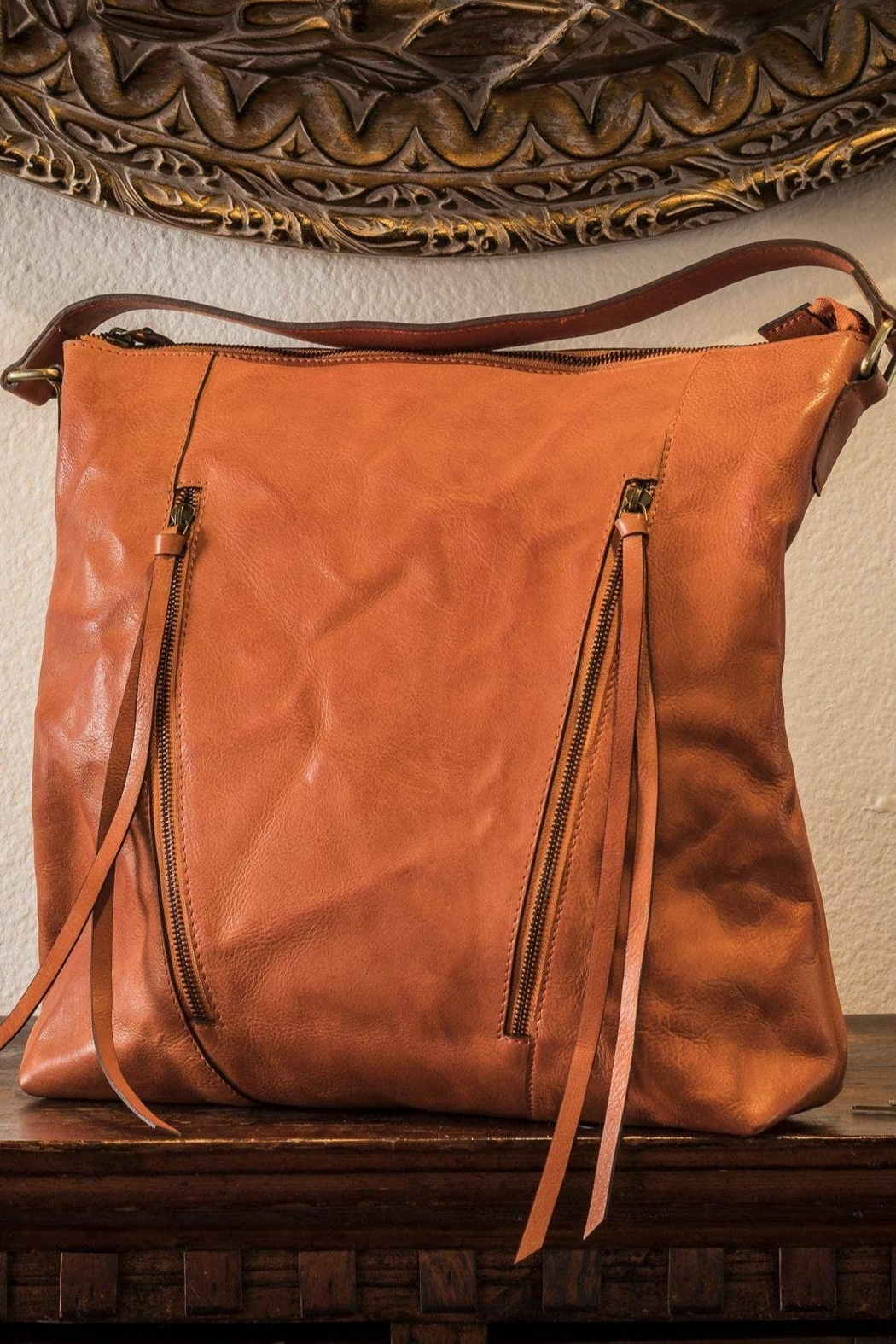 Kiko Leather Orange Leather Tote - Front Cropped Image