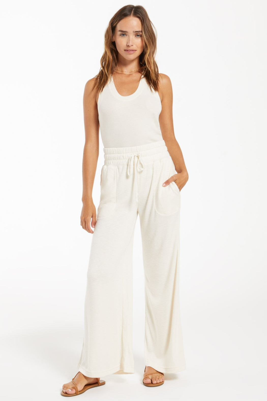 z supply Kim Terry Slub Pant - Back Cropped Image