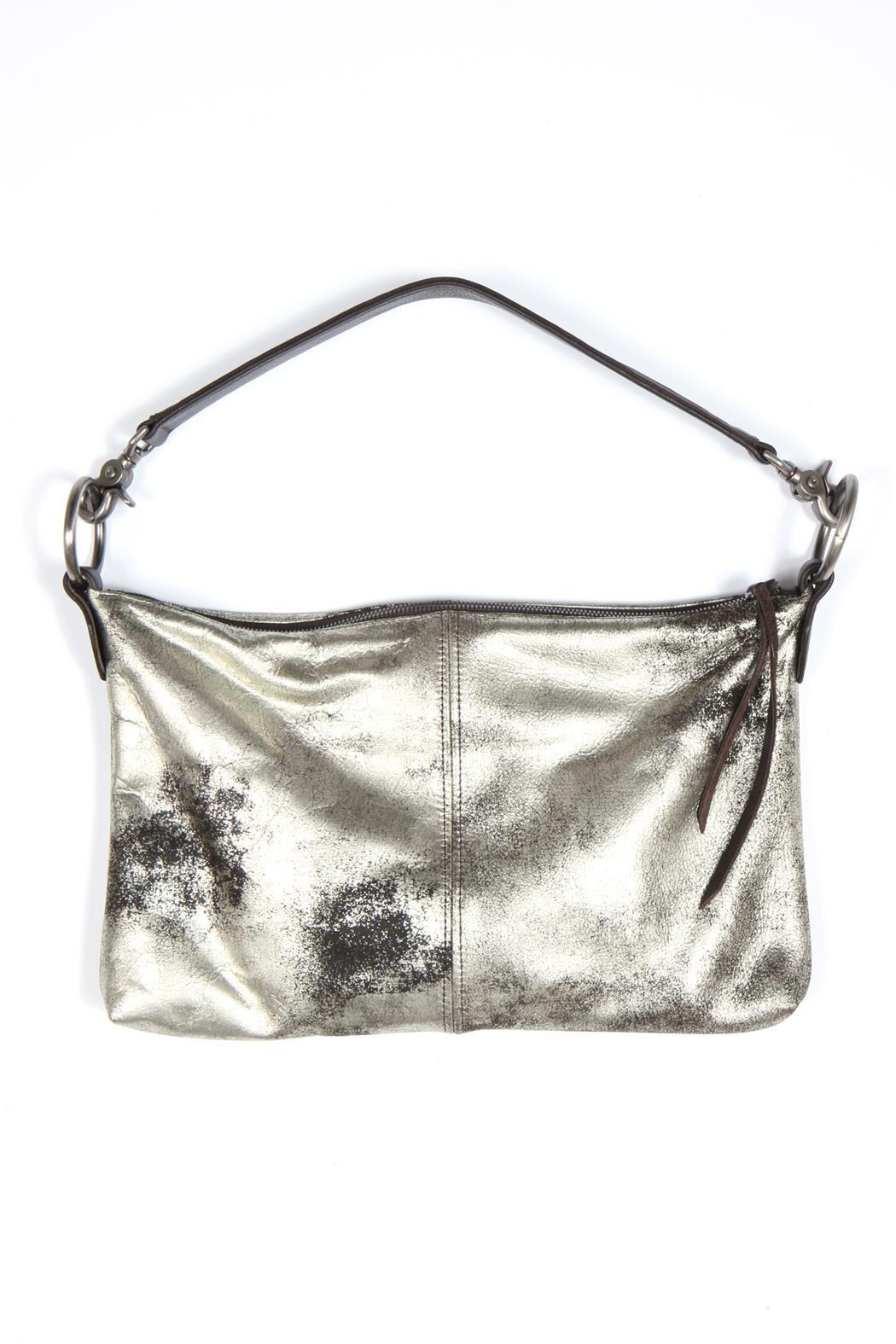 Kim White Metallic Leather Bag - Front Cropped Image