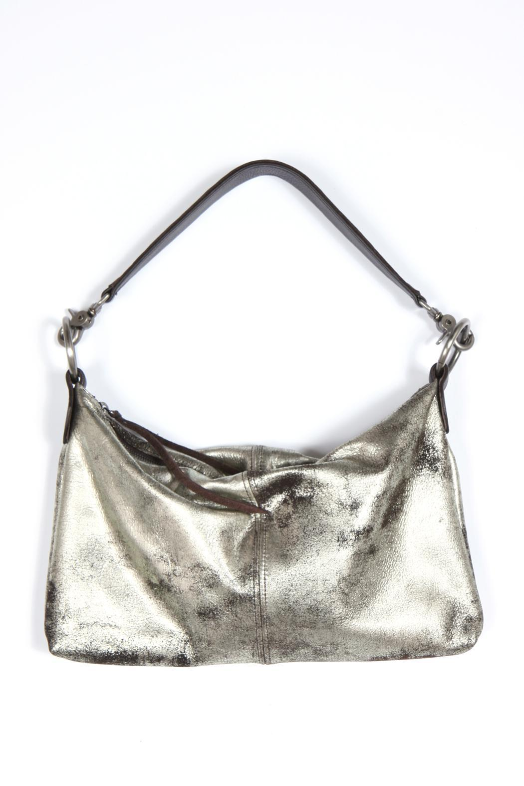 Kim White Metallic Leather Bag - Front Full Image