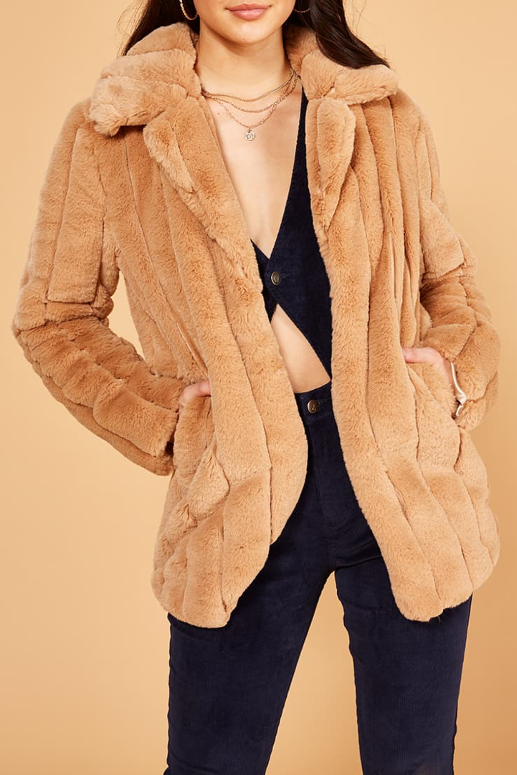 MinkPink Kimbra Faux Fur Jacket - Back Cropped Image