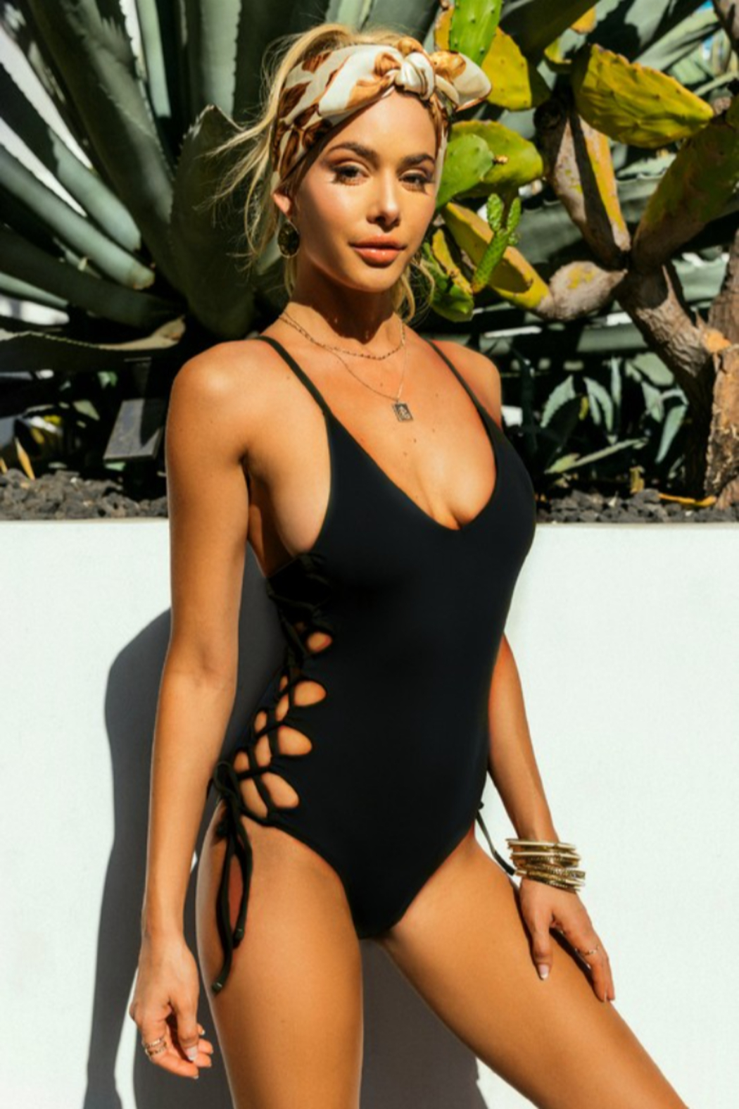 Envya Kimmy Lace Up One Piece - Front Cropped Image