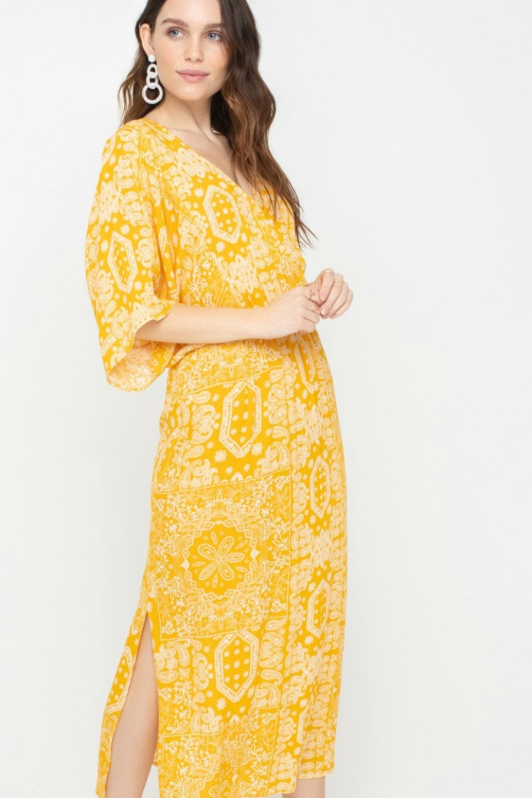 All In Favor Kimono Bandana Dress - Side Cropped Image