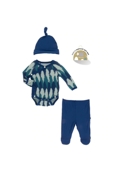 Kickee Pants Kimono Newborn Gift Set - Navy Forestry - Alternate List Image