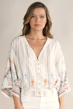 Lovestitch Kimono sleeve embroidered top - Product List Image