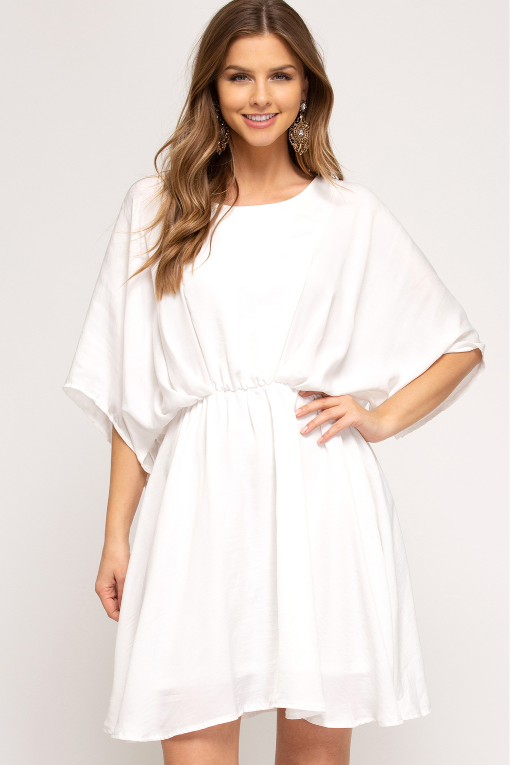 She and Sky KIMONO SLV WOVEN SATIN DRESS - Front Cropped Image