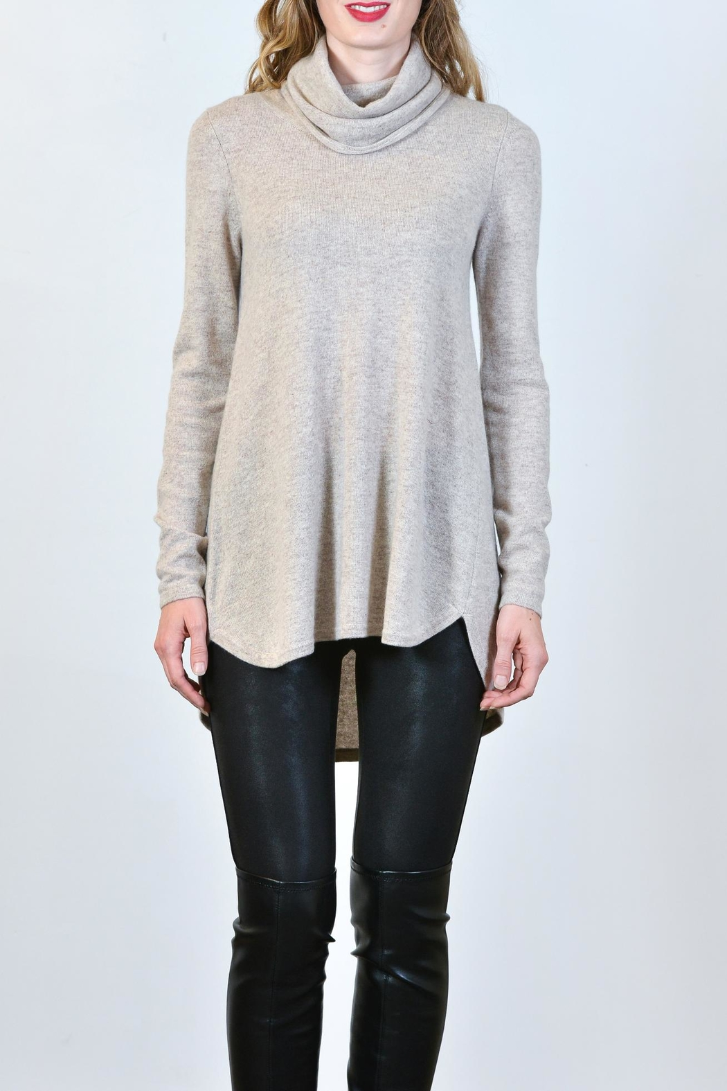 Kinross Cashmere Cashmere Cowl Tunic - Front Cropped Image