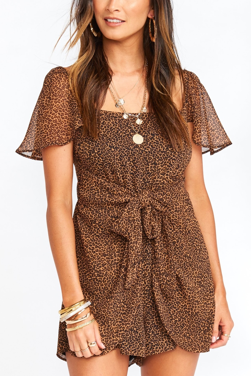 Show Me Your Mumu Kinsley Leopard Romper - Front Cropped Image