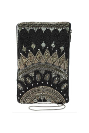 Mary Frances Accessories Kismet Black Beaded-Embroidered Crossbody Phone Bag - Product Mini Image