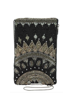Mary Frances Accessories Kismet Black Beaded-Embroidered Crossbody Phone Bag - Product List Image