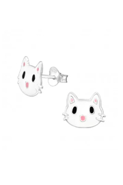Silver Jewels Kitty Stud Earrings - Front cropped