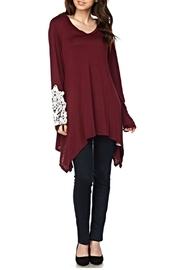 KITTY COUTURE  Burgundy Crochet Tunic - Front cropped