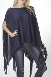 KITTY COUTURE  Navy Fringe Poncho - Product Mini Image