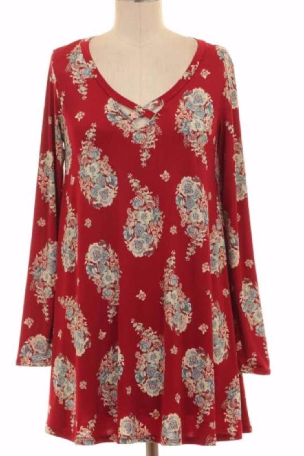 KITTY COUTURE  Red Paisley Tunic - Main Image