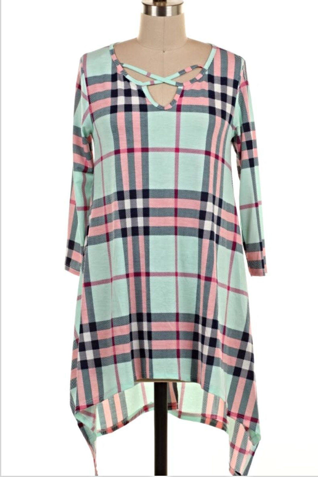 KITTY COUTURE  Strappy Plaid Tunic - Front Cropped Image