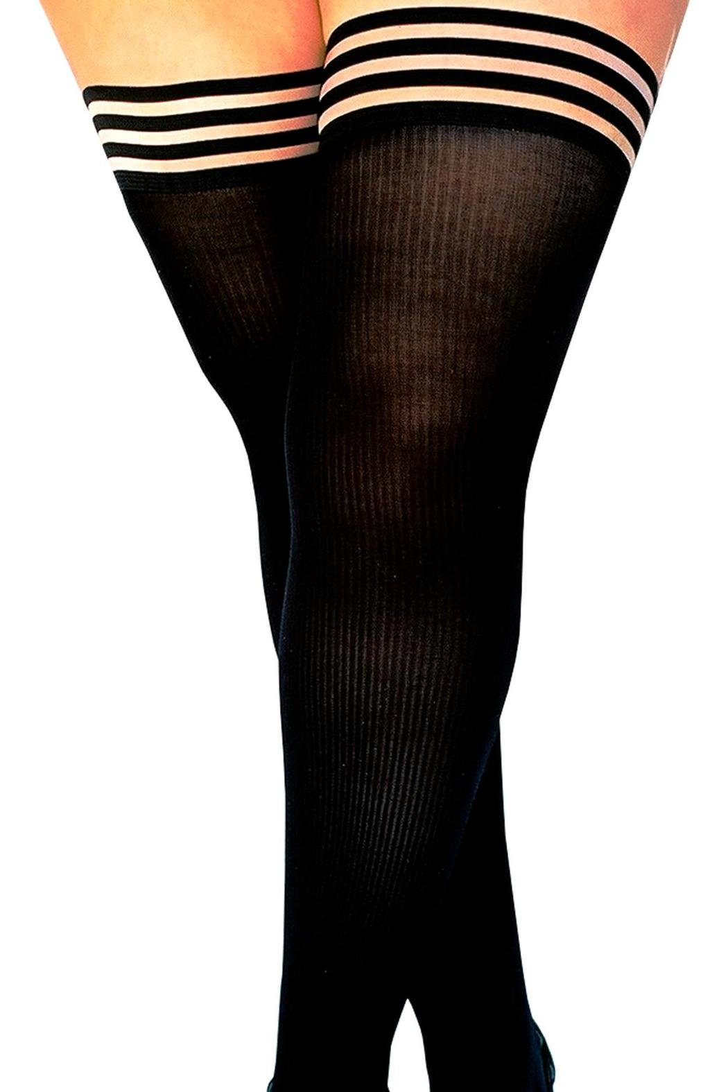Kix'ies Thigh Highs Black Ribbed Thigh High - Front Full Image
