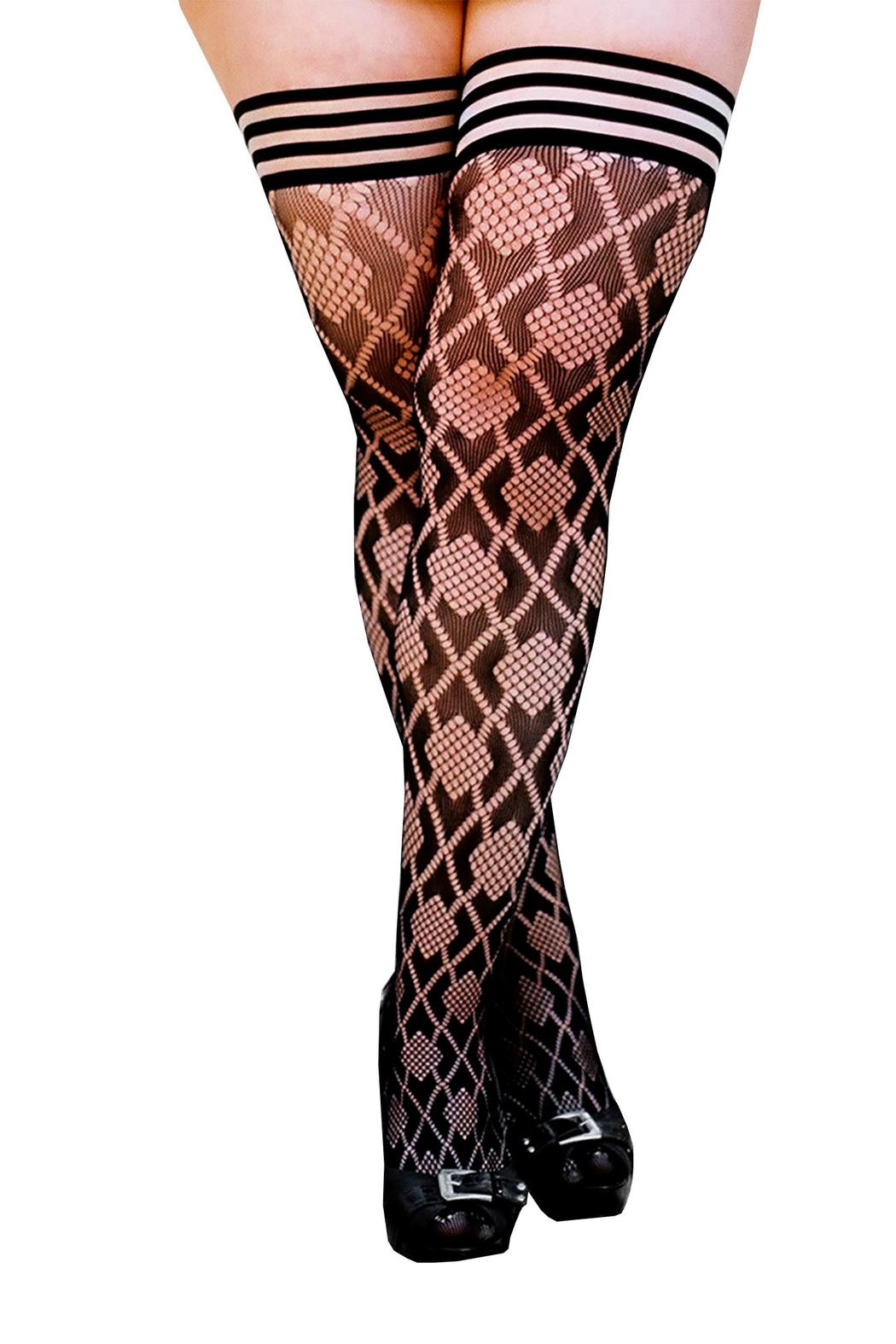 Kix'ies Thigh Highs Diamond Fishnet Thigh High - Front Full Image