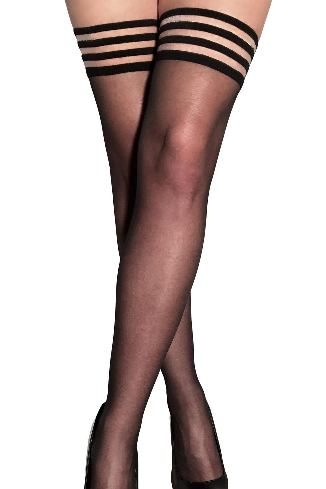 Kix'ies Thigh Highs Sheer Black Thigh High - Front Cropped Image