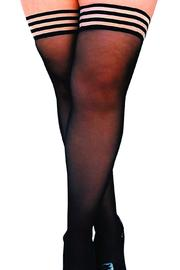 Shoptiques Product: Sheer Black Thigh High - Front full body