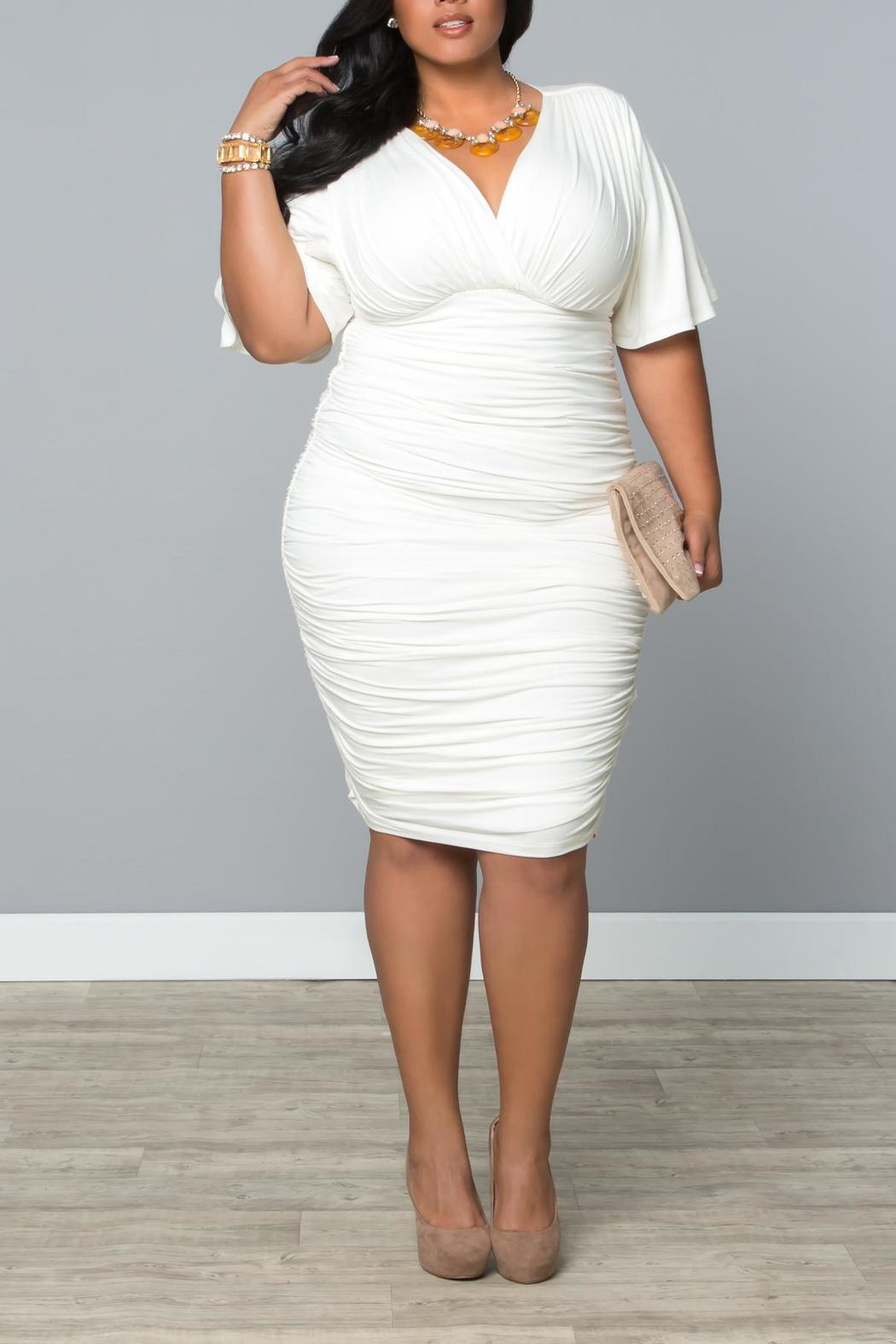 Kiyonna Ruched Cocktail Dress - Front Full Image
