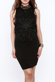 Klaxons Black Crochet Sleeveless Dress - Product Mini Image