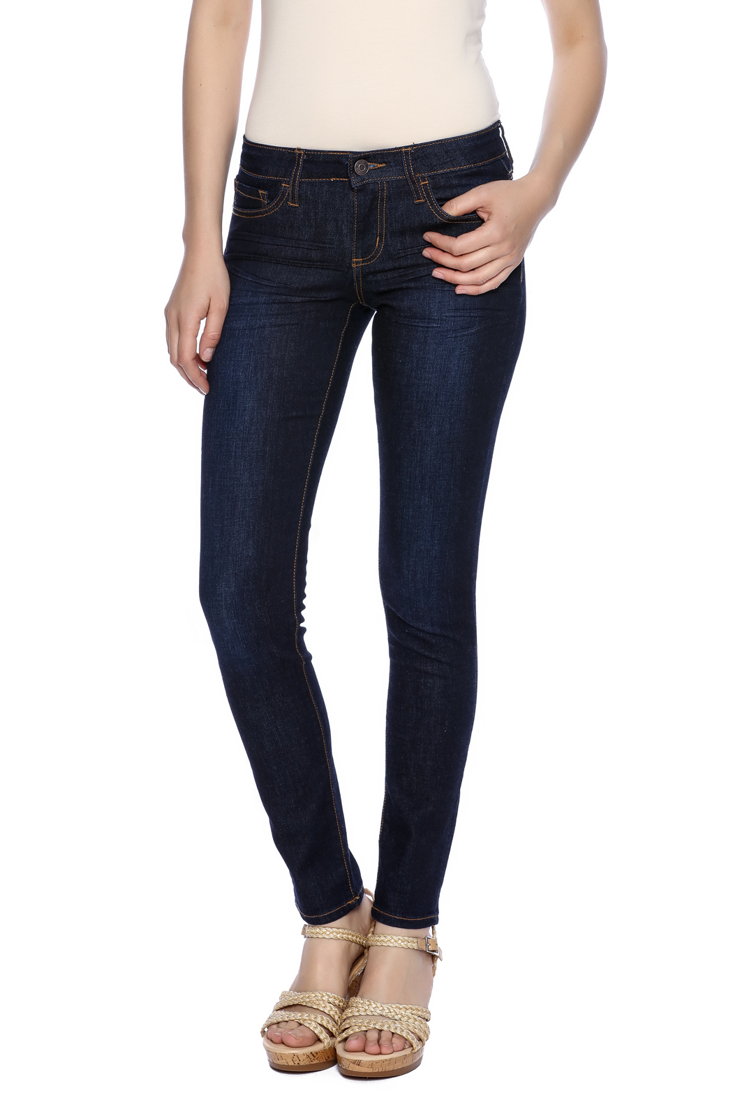 Klique B Dark Rinse Skinny Jean - Front Cropped Image