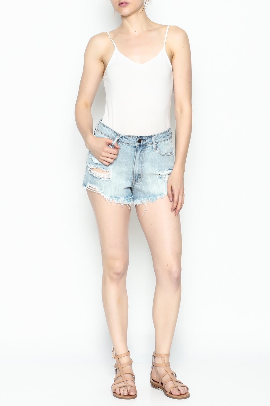 Klique B Denim Cutoff Shorts - Front Full Image
