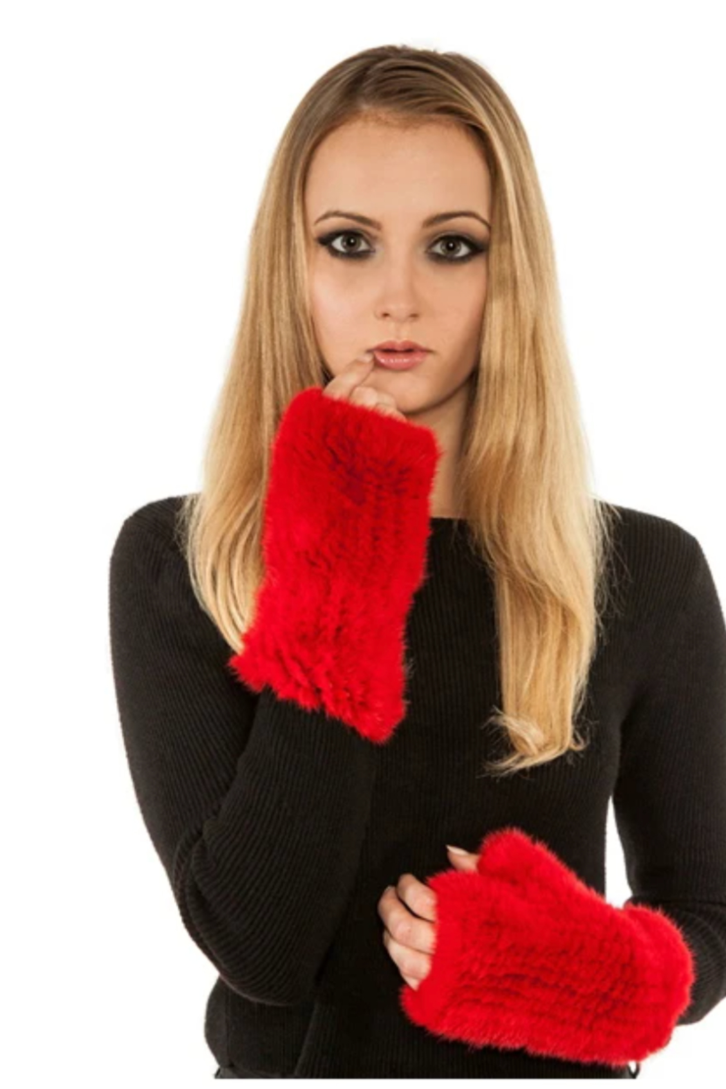 Volare KM1603B - Mink Mittens (Fingerless) - Front Cropped Image