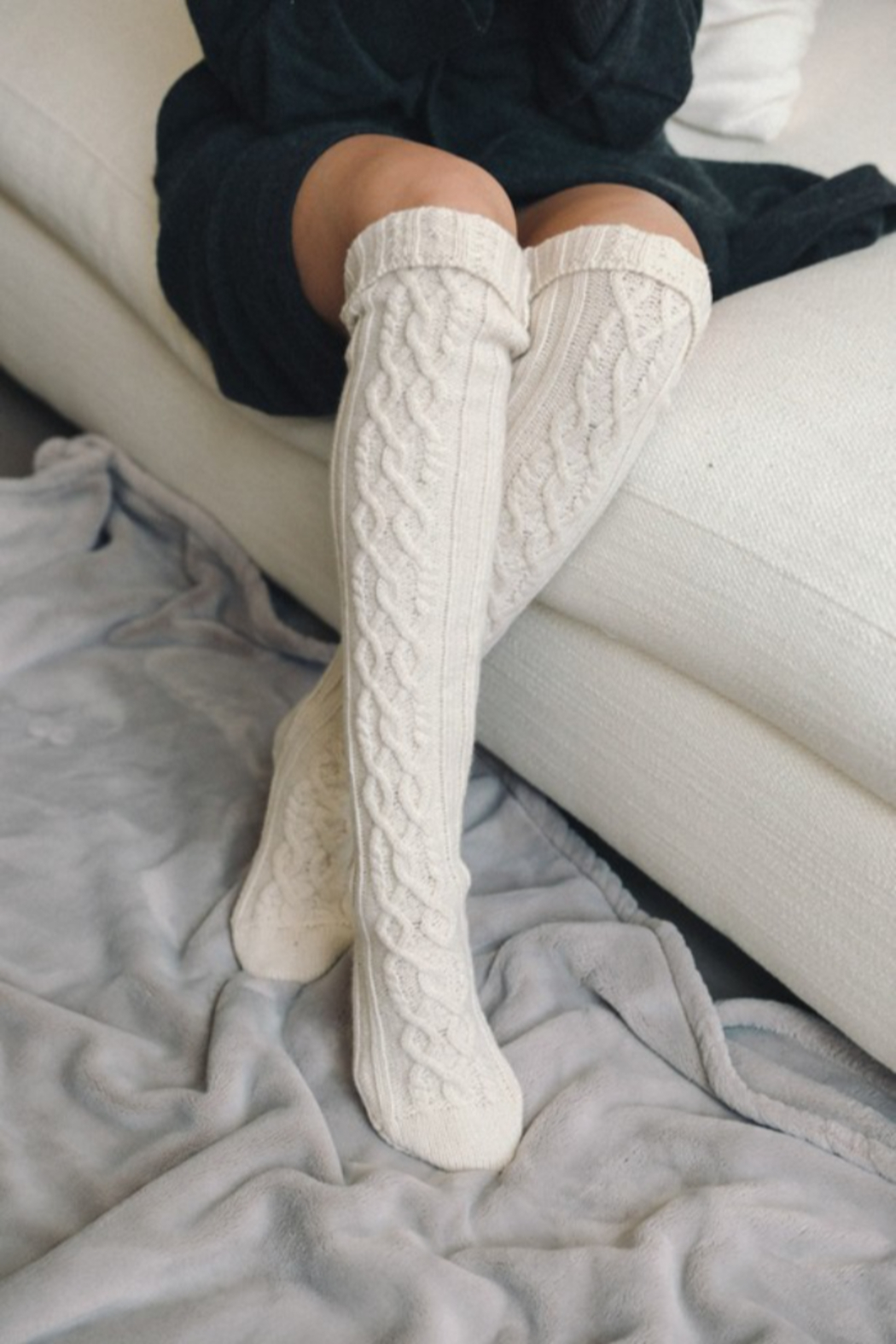 Leto Knee High Cable Knit Socks - Front Full Image