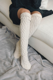 Leto Knee High Cable Knit Socks - Front full body