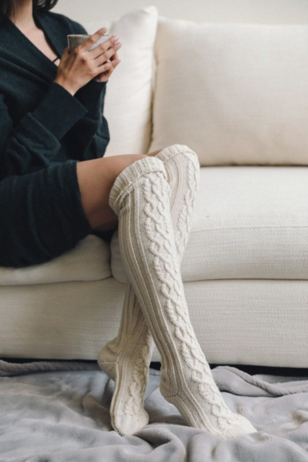 Leto Knee High Cable Knit Socks - Front Cropped Image