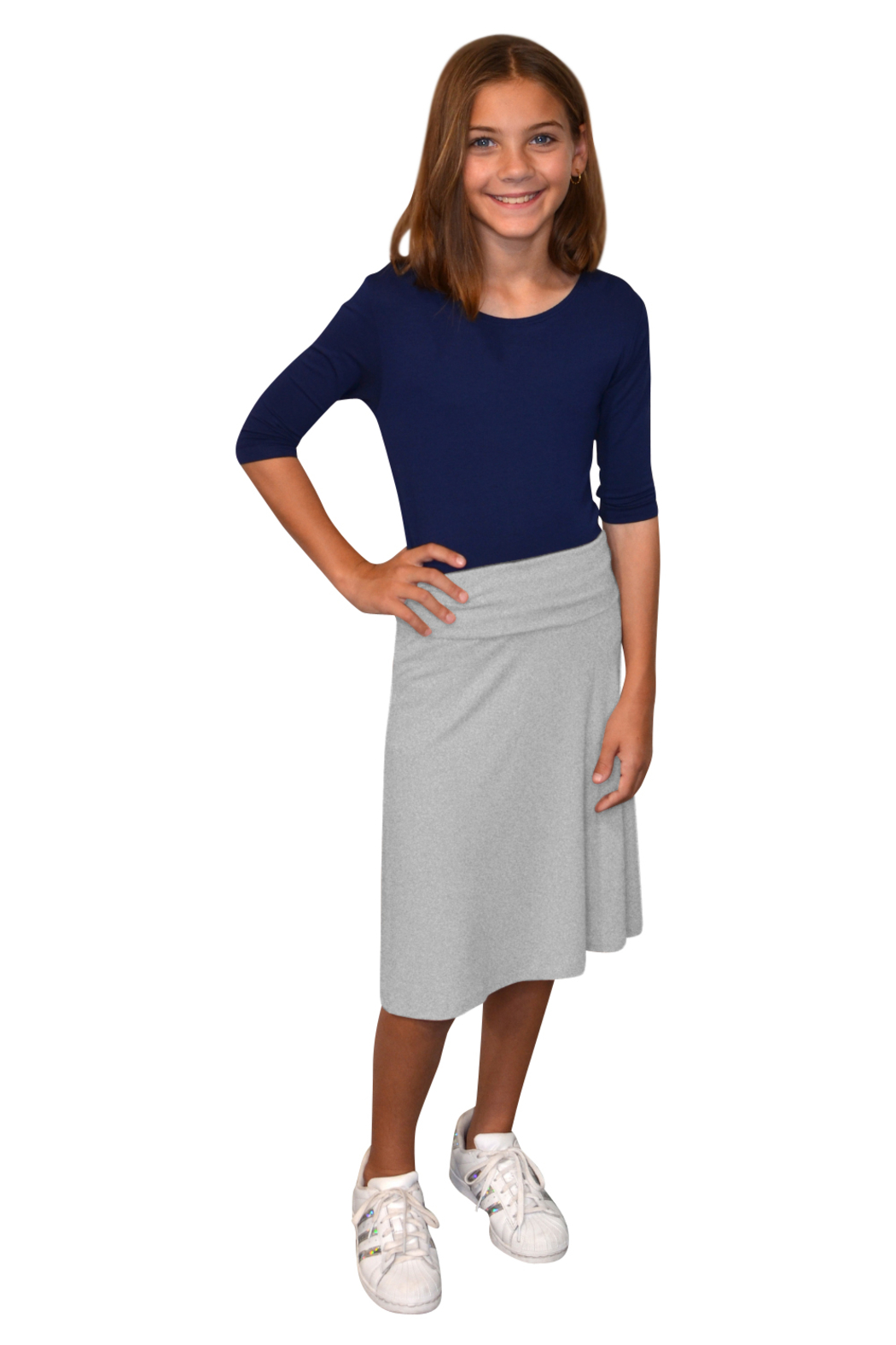 Kosher Casual Knee Length A-Line Skirt for Girls - Front Cropped Image