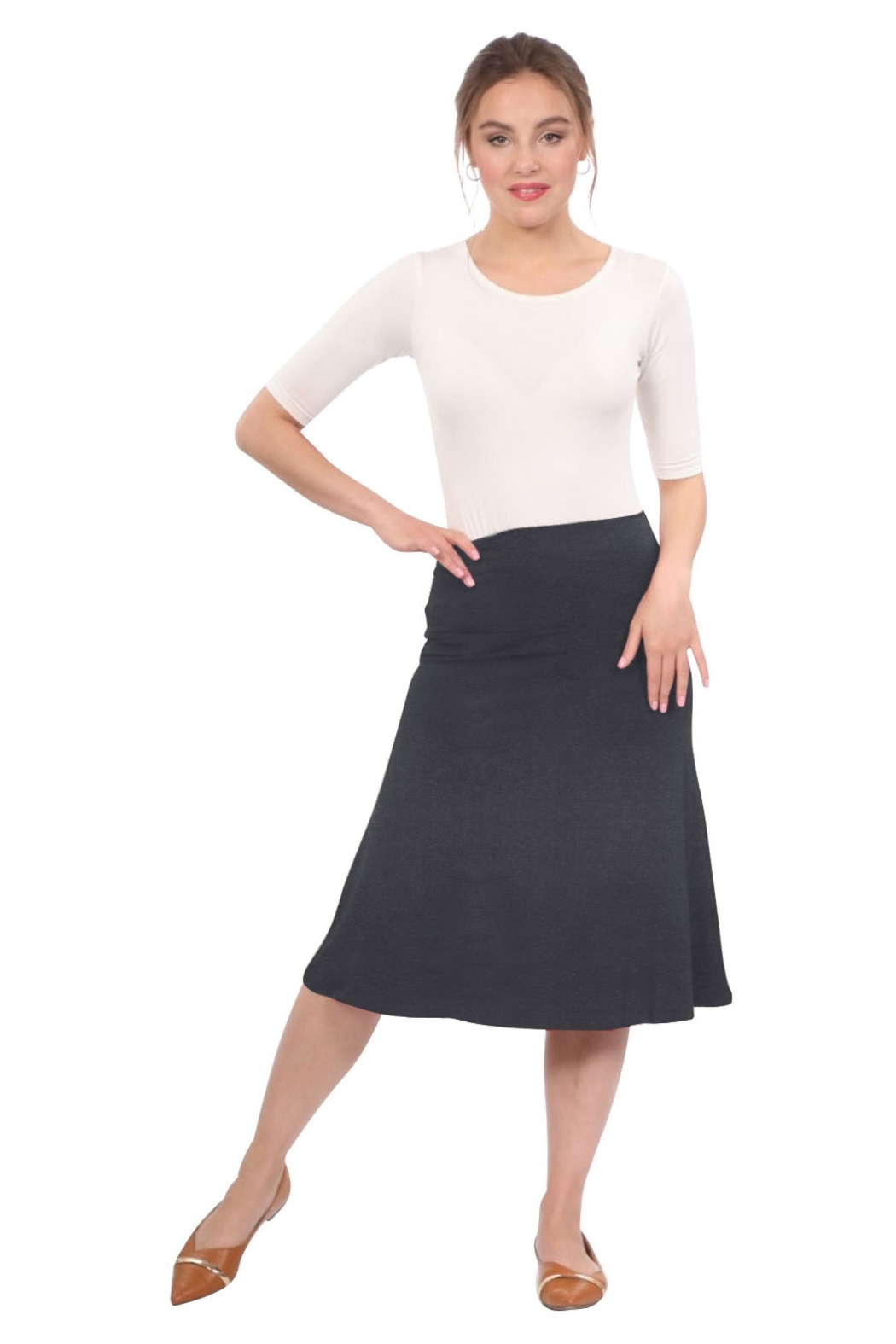 Kosher Casual Knee Length A-Line Skirt for Women - Front Cropped Image